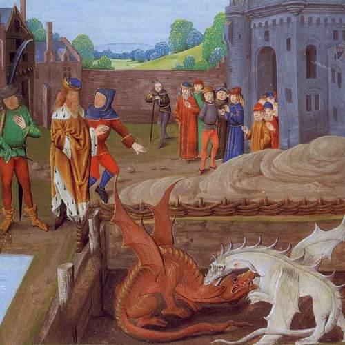 """Czy pierwowzorem dla Merlina był Ambrosius? Na ilustracji iluminacja z XV-wiecznego wydania """"Historii królów Brytanii"""" (źródło: domena publiczna)."""