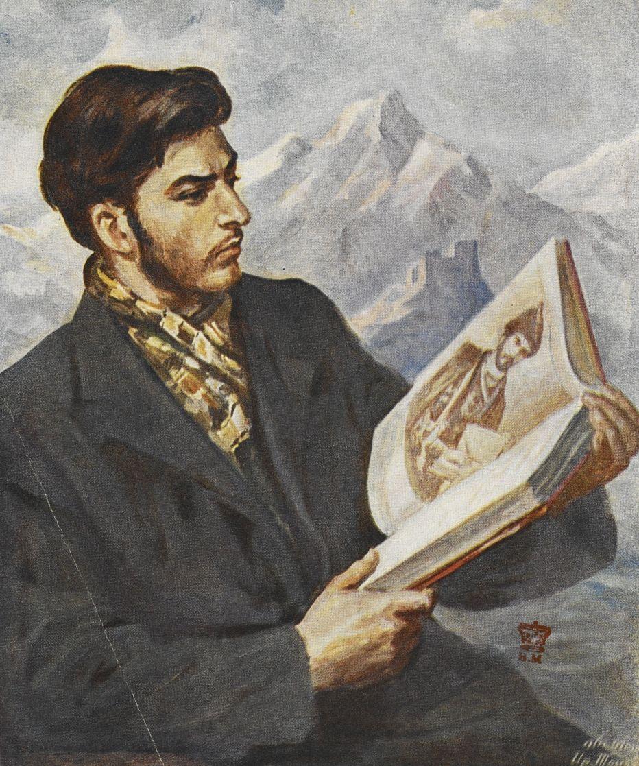 Jako dziecko Stalin miał wypadek, który doprowadził do atrofii mięśni lewej ręki. Dlatego na pewno nie był w stanie czytać książek w taki sposób, jak to przedstawiono na tym propagandowym rysunku (źródło: domena publiczna).