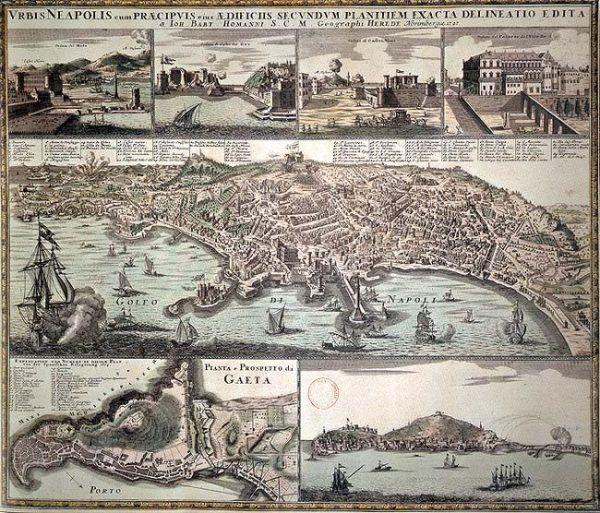 XVII-wieczny Neapol był areną wielkiej afery trucicielskiej. Panorama Neapolu autorstwa Johanna Baptista Homanna z 1727 roku (źródło: domena publiczna).