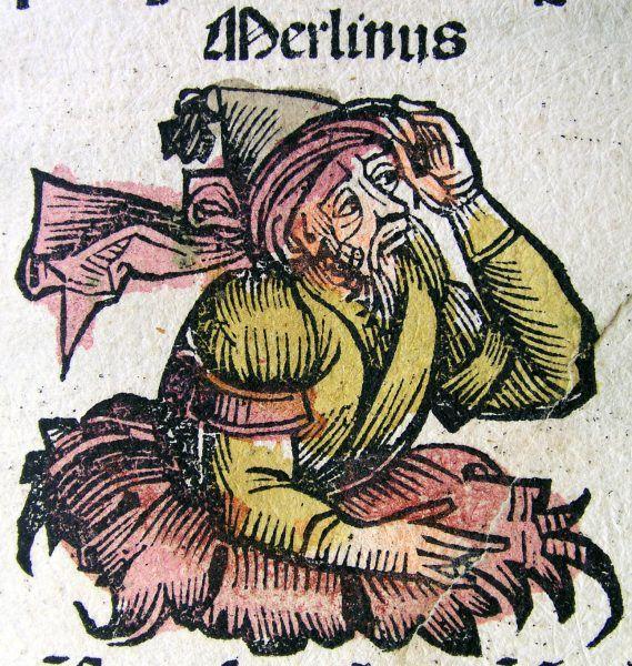 A może jednak Myrddin, bard króla Gwenddolau, był pierwowzorem czarodzieja Merlina? Na ilustracji Merlin w Kronikach norymberskich (źródło: domena publiczna).