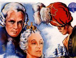 """Plakat filmu """"Le Joueur d'échecs"""" z 938 roku, który opowiadał historię pojedynku Turka z Katarzyną Wielką."""