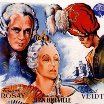 """Plakat filmu """"Le Joueur d'échecs"""" z 1938 roku, który opowiadał historię pojedynku Turka z Katarzyną Wielką."""