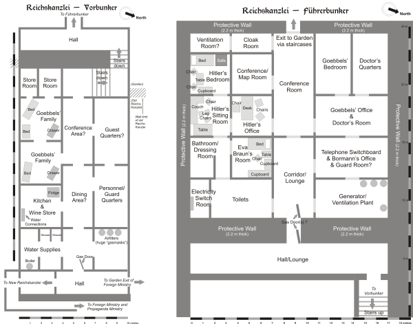 Bunkier przedni (z lewej) i bunkier właściwy pod Kancelarią Rzeszy (rys. Dennis Nilsson, CC BY 3.0).