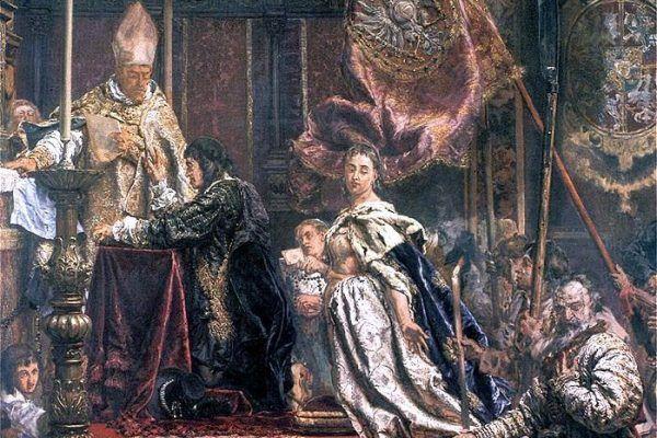 Pamiętne śluby lwowskie Jana Kazimierza uwiecznił na swym obrazie Jan Matejko (źródło: domena publiczna).