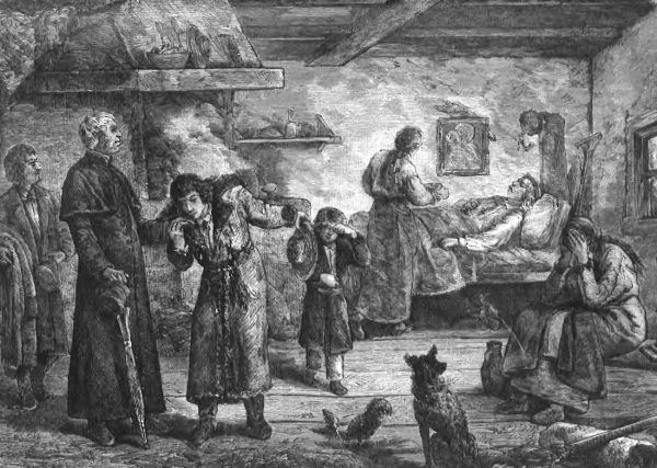 """Głód i choroby zbierały w XIX-wiecznej Galicji co roku śmiertelne żniwo. Na ilustracji rysunek Bronisława Kamińskiego """"Niedola rolnika"""" (źródło: domena publiczna)."""