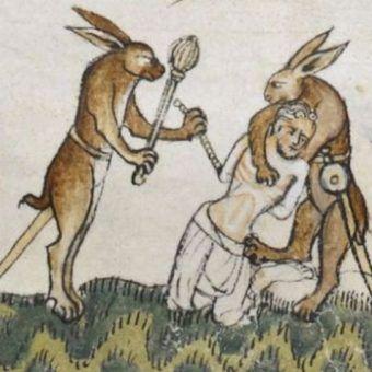 Takie rzeczy tylko za dawnych czasów... Króliki zabijające człowieka (ok. 1300 roku, domena publiczna).
