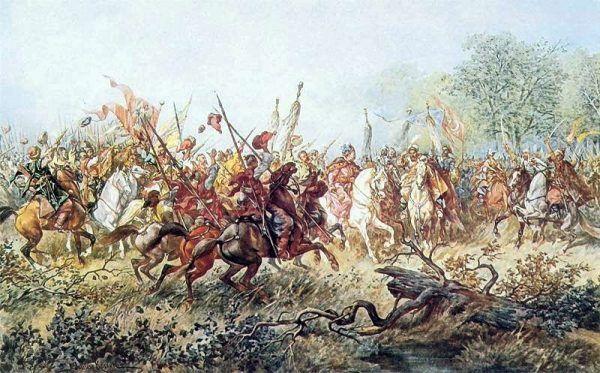 W bitwie pod Korsuniem 26 maja 1648 roku wojska koronne poniosły druzgocącą klęskę. Choć przeciwnik miał zdecydowaną przewagę liczebną, wszyscy i tak byli przekonani, że główną przyczyną przegranej było pijaństwo hetmana Potockiego. Na ilustracji obraz przedstawiający spotkanie Chmielnickiego z Tuhaj Bejem pod Korsuniem pędzla Juliusza Kossaka (źródło: domena publiczna).