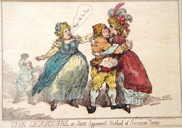 Metody zyskiwania popleczników politycznych przez księżną Devonshire, zilustrowane przez karykaturzystę Thomasa Rowlanda (źródło: domena publiczna).