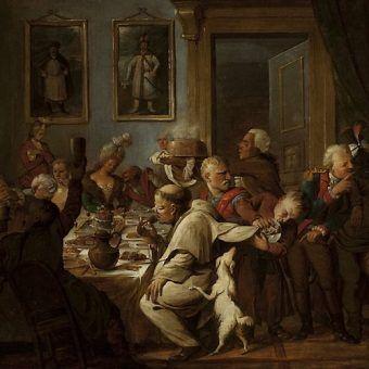 """""""Uczta u Radziwiłłów"""" autorstwa Artura Orłowskiego. Przykład na to jak elity bawiły się w XVIII wieku (źródło: domena publiczna)."""