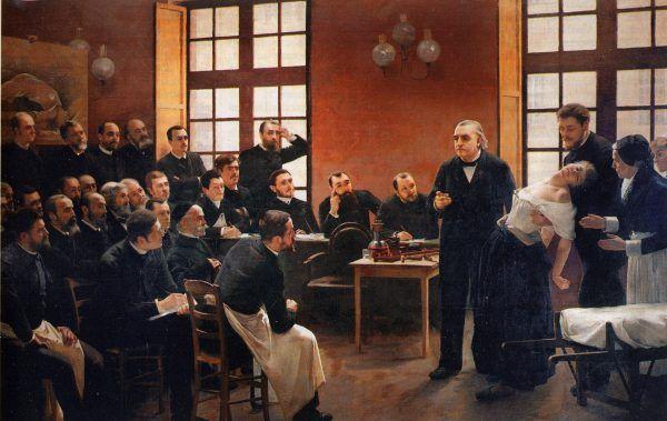 Historia badań naukowych nad hipnozą sięga przełomu XVIII i XIX wieku. Wraz z rozwojem techniki uznano, że hipnotyzować można również za pomocą nadajników telewizyjnych. Na obrazie Jean-Martina Charcota pacjentkę chorą na histerię leczy się za pomocą hipnozy (źródło: domena publiczna).