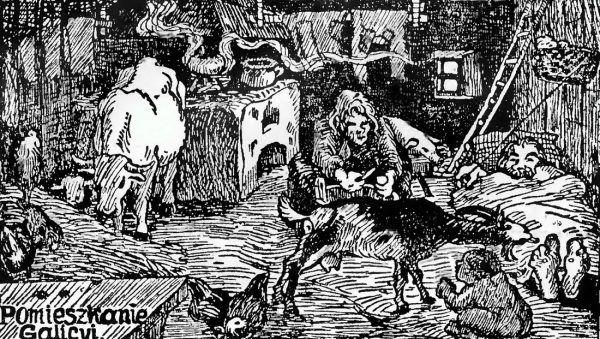 Austriackie władze traktowały Galicję niemal jak kolonię. Zależało im tylko na wyciśnięciu z ludzi możliwie największych podatków. Nic zatem dziwnego, że większość jej mieszkańców żyła w skrajnie trudnych warunkach (źródło: domena publiczna).