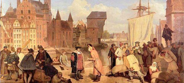 Gdańsk. Jeden z najbardziej ruchliwych portów na Bałtyku. Obraz pochodzi z XVII wieku (źródło: domena publiczna).