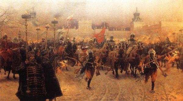Czyżby Jan III nie widział przywar Marysieńki, bo sam miał wiele za uszami? Na obrazie wyjazd króla z Wilanowa (źródło: domena publiczna).