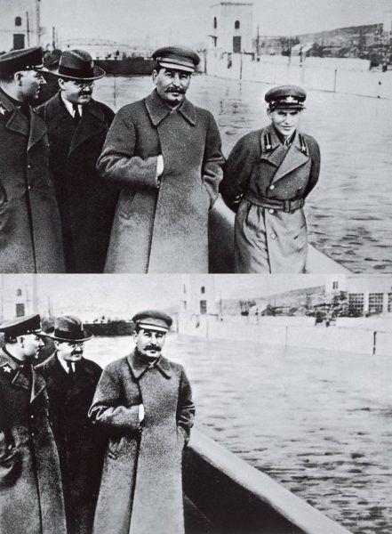 Był człowiek, nie ma człowieka. Po egzekucji Jeżow zniknął on nawet z oficjalnych zdjęć (źródło: domena publiczna).