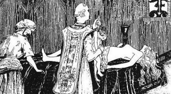 """Tak pod koniec XIX wieku wyobrażano sobie czarną mszę przeprowadzaną przez La Voisine i księdza Étienne'a Guibourga na nagim ciele Madame de Montespan. Ilustracja Henry'ego de Malvosta z książki """"Le Satanisme et la Magie"""" (źródło: domena publiczna)."""