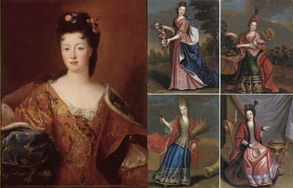 Nie tylko bratanica Elżbieta Charlotta (po lewej) była według Ludwika XIV zbyt dobrą partią, by oddawać ją Sobieskim. Również cztery córki jego dalekiego krewnego Henryka Juliusza Kondeusza (po prawej na ilustracji Pierre'a Goberta) były według niego zbyt dobrze na to urodzone (źródło: domena publiczna).