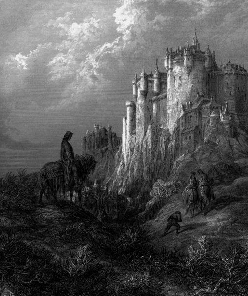 W zamku Camelot miał mieszkać król Artur z żoną Ginewrą oraz doradcą - Merlinem. Ilustracja autorstwa Gustave Doré'a (źródło: domena publiczna).