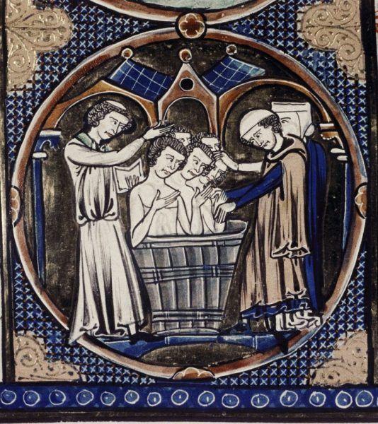 """Chrzest całej Polski? Co najwyżej kilku osób! Dziś możemy stwierdzić, że w 966 roku ochrzcił się Mieszko I i (być może) jego najbliższe otoczenie. Na ilustracji fragment miniatury z manuskryptu """"Bible moralisee"""" (źródło: domena publiczna)."""