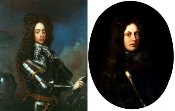 21-letnia wdówka dokonała wyboru między królewiczem Jakubem Sobieskim (po lewej, na obrazie Henri Gascara) a Karolem Filipem neuburskim (po prawej, na obrazie Pietera van der Werffa). Wygrał kandydat numer dwa (źródło: domena publiczna).
