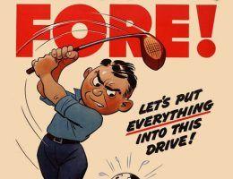 Na przełomie kwietnia i maja 1945 roku zostało już do wykonania tylko to ostatnie uderzenie (fragment amerykańskiego plakatu propagandowego).