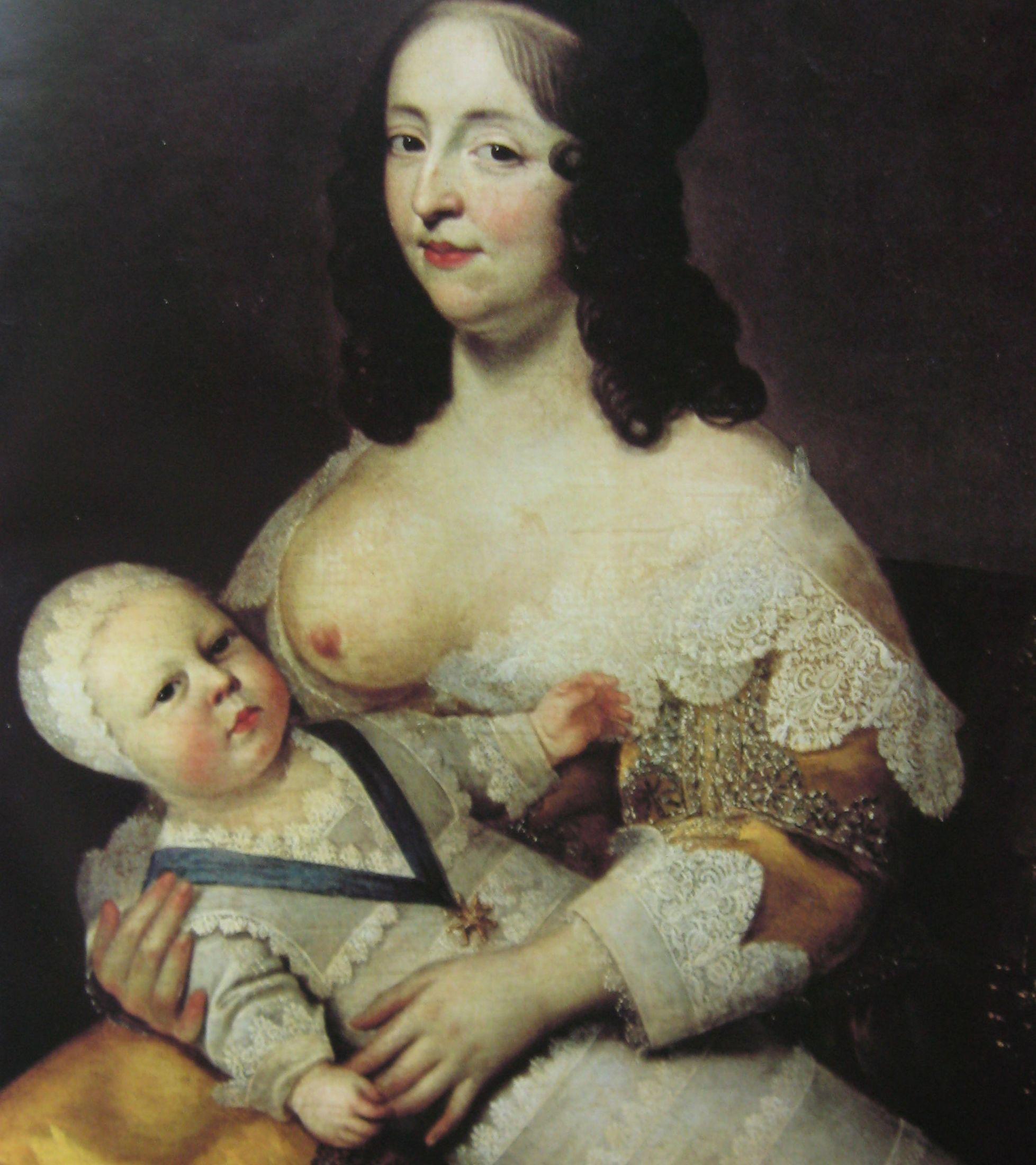 Jedną z praktykowanych metod antykoncepcyjnych było przedłużone karmienie piersią. Dlatego królowe, licząc na szybkie narodziny kolejnych potomków, oddawały dzieci mamkom. Na obrazie Charlesa Beaubruna przyszły Ludwik XIV i jego karmicielka Longuet de la Giraudiére (źródło: domena publiczna).