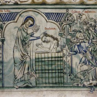 """Chrzest na ilustracji """"Bible moralisée"""", manuskryptu z XIII wieku (źródło: domena publiczna)."""