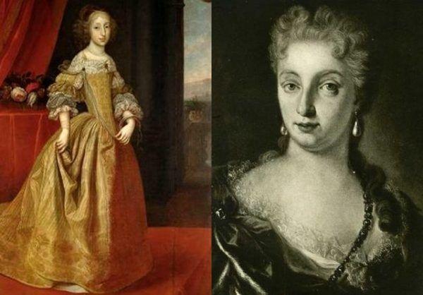 Sobiescy woleli rękę brzydkiej i obciążonej genetycznie Marii Antonii (po lewej na obrazie Benjamina von Blocka) od urodziwszej Wiolanty Beatrycze (po prawej na obrazie Giovanny Fratellini). Ostatecznie żadna z nich nie została synową Jana III (źródło: domena publiczna).