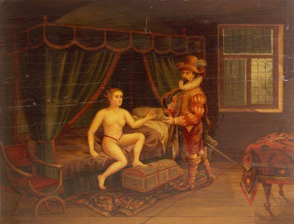 Kolejna opasana kobieta oddaje mężowi klucz do swej cnoty. Obraz olejny H. M. Haymana z 1916-1917 roku (fot. Wellcome Images, lic. CC BY 4.0).
