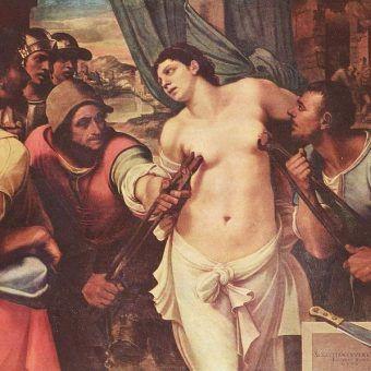 """Jeden z przykładów bestialskiego traktowania kobiet: fragment obrazu Sebastiano del Piombo """"Męczeństwo świętej Agaty"""" z 1520 roku (źródło: domena publiczna)."""