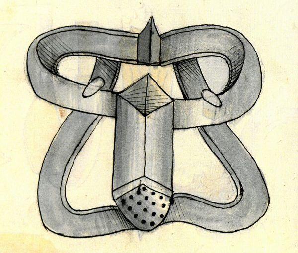 """Ilustracja nieznanego autora obrazująca pas cnoty w dziele Konrada Kyesera """"Bellifortis"""" z ok. 1405 roku. Książka ta była poświęcona... sztuce wojennej (źródło: domena publiczna)."""