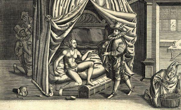 Karykatura pochodząca z ok. 1590 roku. W centralnej scenie żona przekazuje mężowi, wyjeżdżającemu w daleką podróż, klucz do pasa. Jednak staruszka w tle posiada kopię klucza... Całość układa się w satyrę na naiwnego męża (autor: Heinrich Wirrich, źródło: domena publiczna).
