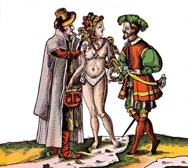 XVI-wieczny niemiecki rysunek satyryczny, przedstawiający kobietę w pasie cnoty z mężem i amantem (źródło: domena publiczna).