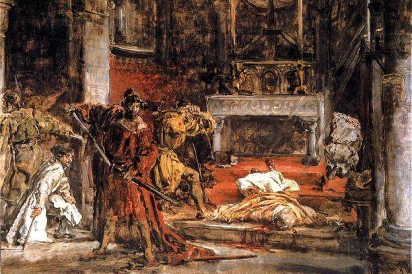 Późniejsze źródła wskazywały króla Bolesława Śmiałego jako bezpośredniego mordercę św. Stanisława ze Szczepanowa. Tak też przedstawił śmierć biskupa Jan Matejko (źródło: domena publiczna).