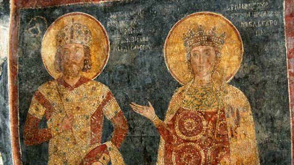 Konstantyn Tich nawet nie podejrzewał, że jego następcą zostanie zwykły świniopas... Na fresku z cerkwi w Bojanie car przedstawiony z pierwszą żoną Ireną Laskariną (źródło: domena publiczna).