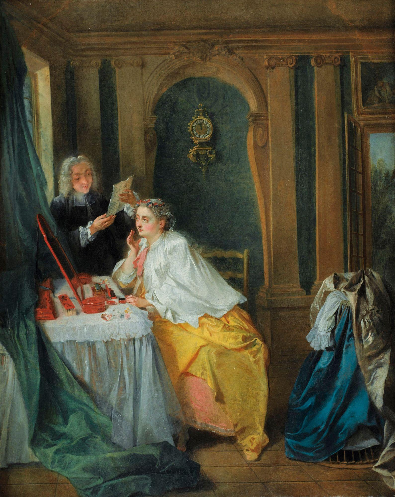 Bielidła? Czernidła? Czerwienidła? A może błękitnidła? Cóż dziś użyć, by wyglądać bosko? Obraz Nicolasa Lancreta z 1732 roku (fot. the lost gallery, flickr, lic. CC BY 2.0).