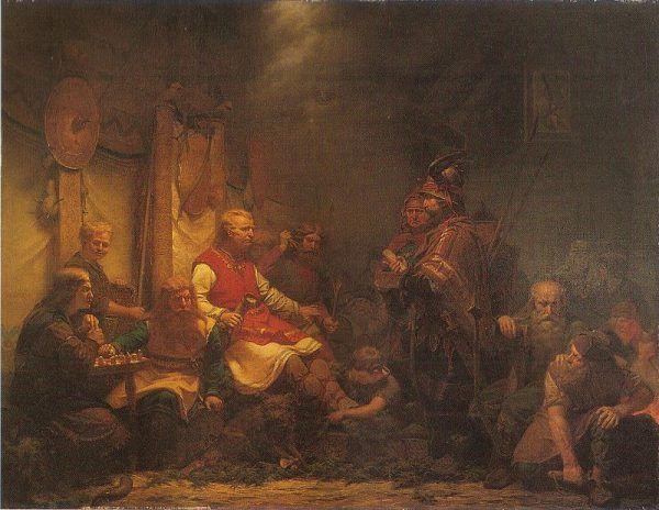 Posłaniec króla Elli przed synami Ragnara Włochate Gacie. Obraz Augusta Malmstroma (źródło: domena publiczna).