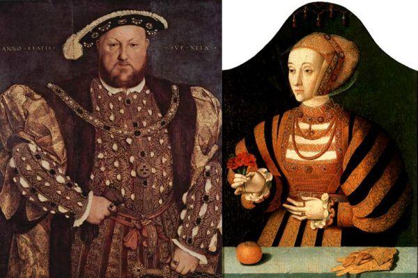 Nie było im dane żyć ani długo, ani szczęśliwie... I to przez wygórowane oczekiwania króla. Pochodzące z ok. 1540 roku portrety Henryka VIII pędzla Hansa Holbeina i Anny pędzla Bartholomäusa Bruyna Starszego (źródło: domena publiczna).
