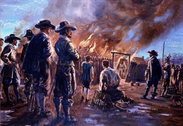 """Kto by pomyślał, że w """"zombie"""" zostali zamienieni również brytyjscy żołnierze podczas pierwszej rewolucji kolonialnej w Ameryce Północnej... Na ilustracji płonące Jamestown (źródło: domena publiczna)."""