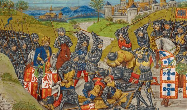 """Jan Aviz został obwołany królem mimo nieślubnego pochodzenia. Musiał jednak walczyć o władzę z zięciem poprzedniego władcy, królem Kastylii Janem. Dopiero zwycięska bitwa pod Aljubarrotą w 1385 roku doprowadziła do uznania Aviza za króla przez inne państwa. Miniatura z """"Kronik Anglii"""" Jeana d'Wavrina z ok. 1480 roku (źródło: domena publiczna)."""