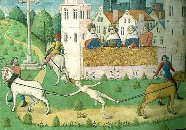"""Przedstawiciele innych linii rodu także obawiali się gniewu Brunhildy. Nic dziwnego, że Chlotar II, gdy ją dostał w swoje ręce, wydał na tortury i zgładził. Egzekucja według """"De Casibus Virorum Illustrium"""" z ok. 1475 (źródło: domena publiczna)."""