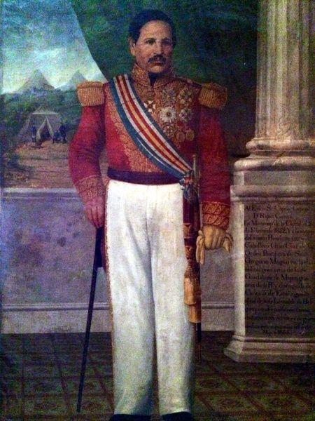 Prezydent Rafael Carrera y Turcios (portret nieznanego autorstwa, domena publiczna).