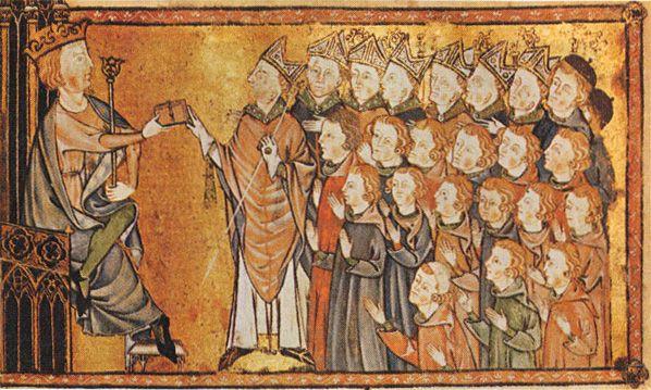 Ludwik X Kłótnik nadaje kartę praw Normandii. Ćwierć wieku później jego kuzyn, król Filip VI Walezjusz, zagwarantował szeroką autonomię tej prowincji. Nie wyszło mu to na dobre... (źródło: domena publiczna).