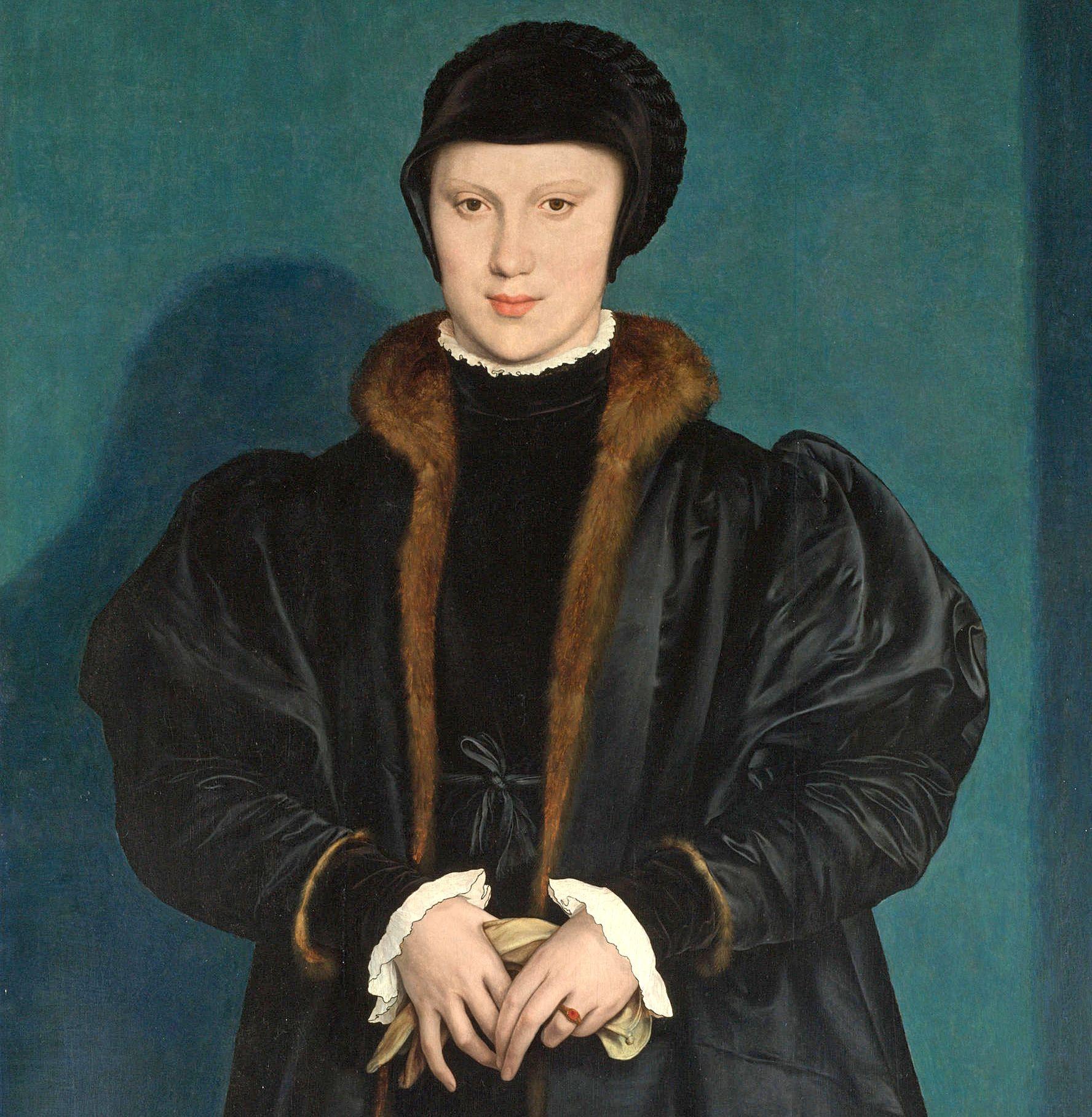 Gdy Henryk VIII zobaczył tę podobiznę księżnej Mediolanu, z miejsca się w niej zakochał. Jednak ani ona, ani jej rodzina, nie mieli ochoty na angielski mariaż. Kilka lat później dziewczyna została księżną Lotaryngii. Krystyna mediolańska, z domu księżniczka duńska, na obrazie Hansa Holbeina z 1538 roku (źródło: domena publiczna).