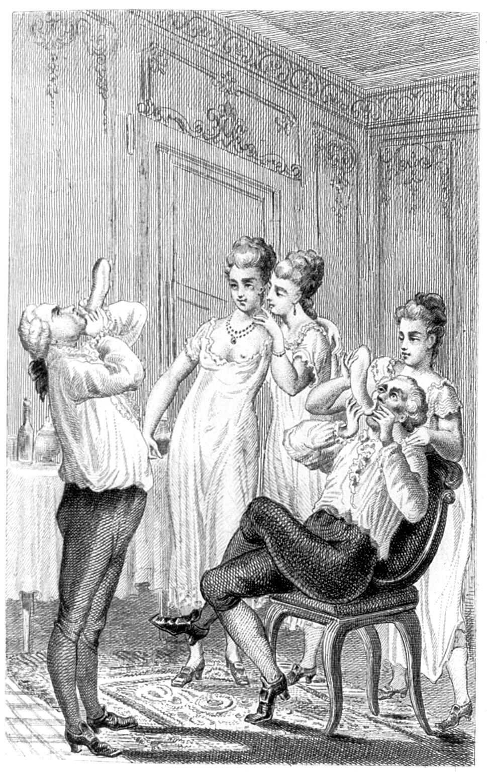 Nadmuchiwanie prezerwatyw aby sprawdzić ich szczelność... Czy Casanova faktycznie był tak niepoprawnym lowelasem za jakiego go uważamy? (źródło: domena publiczna).