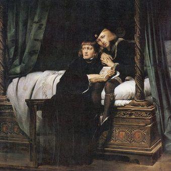 Uznanych za nieślubne dzieci synów króla Anglii Edwarda IV czekał marny los. Zostali uwięzieni w Tower i słuch po nich zaginął. Fragment obrazu Paula Delaroche'a z 1830 roku (źródło: domena publiczna).