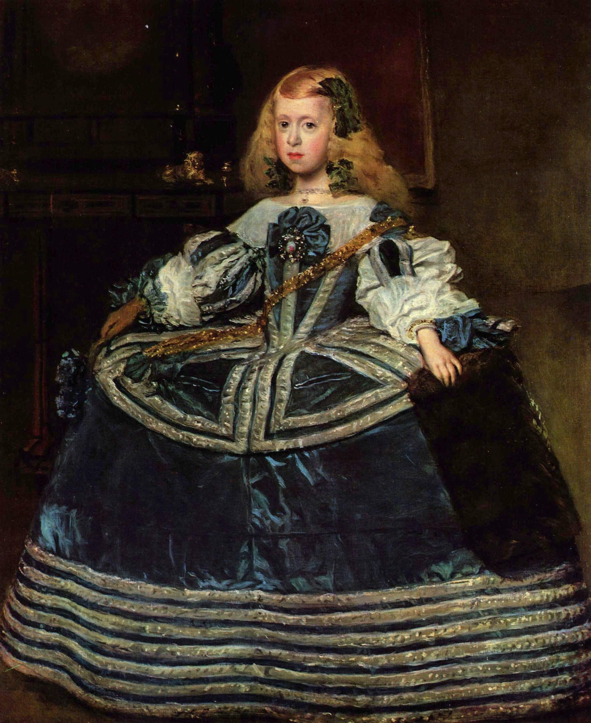 Ośmioletnia Małgorzata Teresa na obrazie, który zachwycił Leopolda I, jej wujka i kuzyna zarazem. Jak na ówczesne habsburskie standardy dziewczynka była oszałamiająco wdzięczna (autor: Diego Velázquez, źródło: domena publiczna).