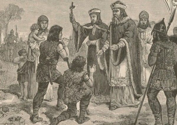 """Kolejny XIX-wieczny wizerunek Dobrawy. Tym razem wspólnie z mężem. Ilustracja pochodzi z książki """"Żelazne damy. Kobiety, które zbudowały Polskę""""."""