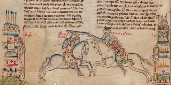 Kanut Wielki (po prawej) podczas pojedynku z angielskim królem Edmundem II Żelaznobokim (źródło: domena publiczna).