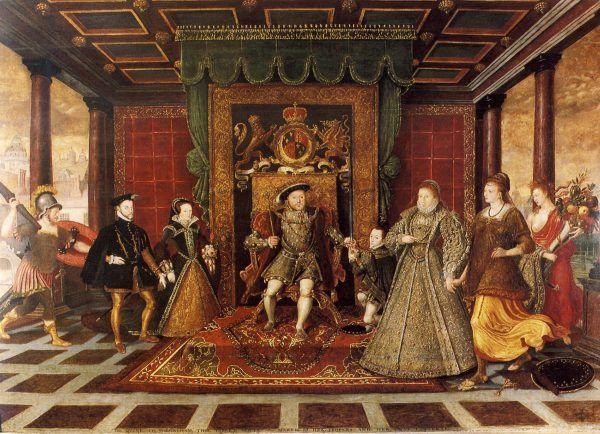 Dla Anny nie znalazło się miejsce w alegorycznym obrazie przedstawiającym rodzinę król Anglii. Na lewo od Henryka VIII Maria I i jej mąż Filip Habsburg, na prawo - Edward VI i Elżbieta I. Obraz Lucasa de Heere z ok. 1572 roku (źródło: domena publiczna).
