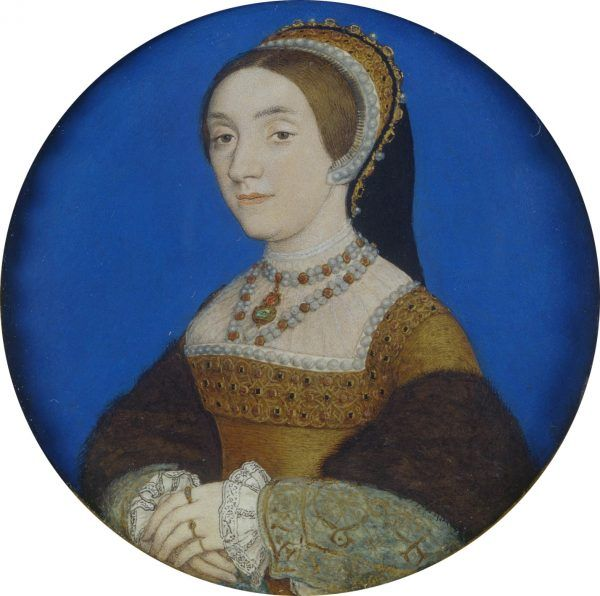 Zaczynała jako dwórka Anny, skończyła jako jej następczyni... Katarzyna Howard na portrecie pędzla Hansa Holbeina ok. 1540 roku (źródło: domena publiczna).